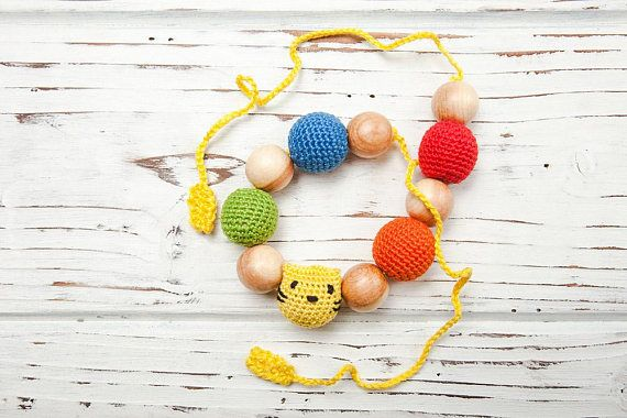 Crochet rainbow wooden nursing bracelet  Unfinished juniper