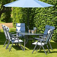Azore 6 Seater Metal Garden Furniture Set with Parasol