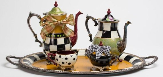 Custom Hand Painted Silver Tea Sets  your 3 by paintingbymichele