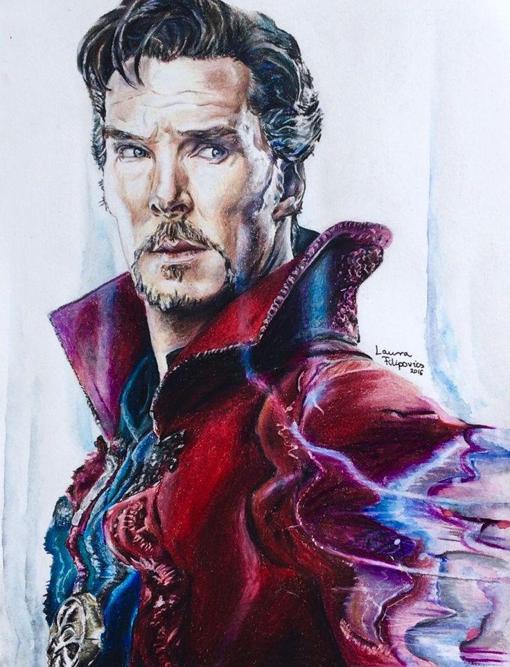 Colored pencil drawing of Benedict Cumberbatch as #DoctorStrange by Laura Filipovics