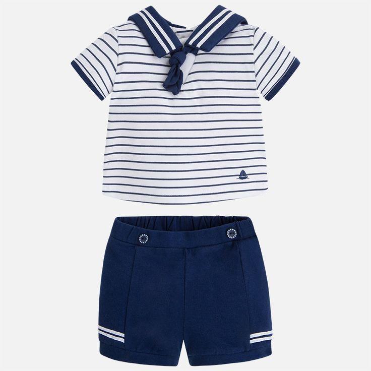 Mayoral Erkek Bebek Yazlık Kısa Kol T-shirt Şort Set Koyu Mavi - Bebek House