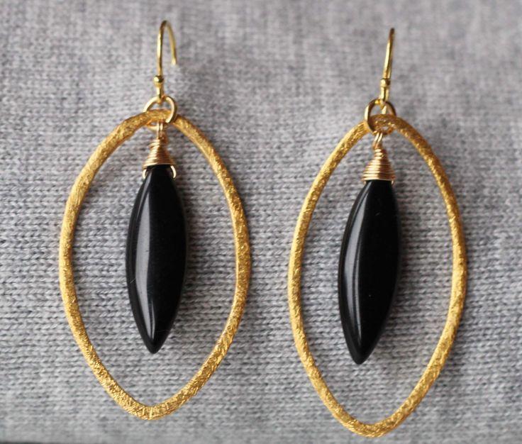 Black Onyx Wire Wrapped Gemstones in 22k Gold Vermeil Oval Hoops Earrings by ILgemstones on Etsy