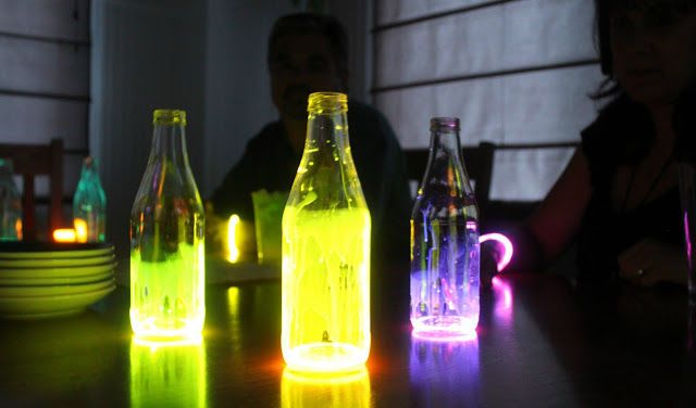 Add glow sticks to bottles to use for mood lighting and illuminating paths to tents and restrooms.   Learn more at Moore Minutes.