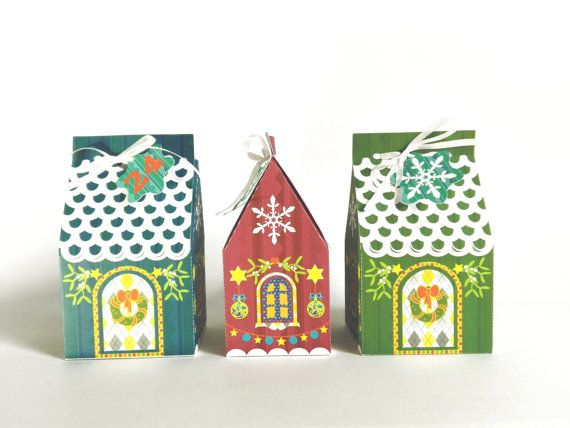 Christmas gingerbread paper house gift box advent by RubiaCraft