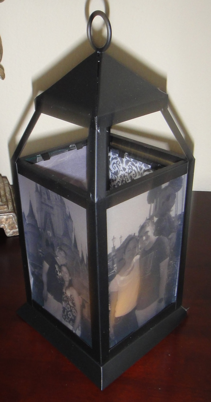 Personalized photo lantern centerpiece or gift