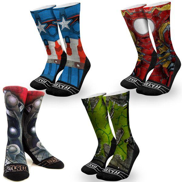 Marvel Comics Graphic Rock 'Em Avenger Socks