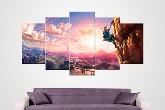 5 Panel Canvas Zelda Breath Of The Wild Wall Art Large Wall Large Wall Art Wall Art Art