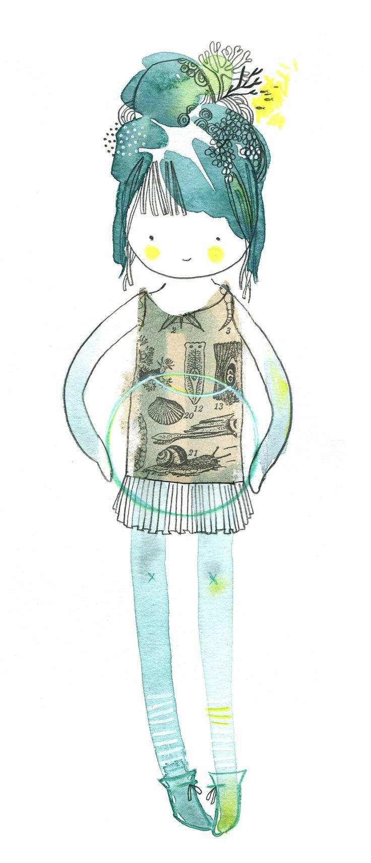 doll robe bocal, aquarelle, Cécile Hudrisier