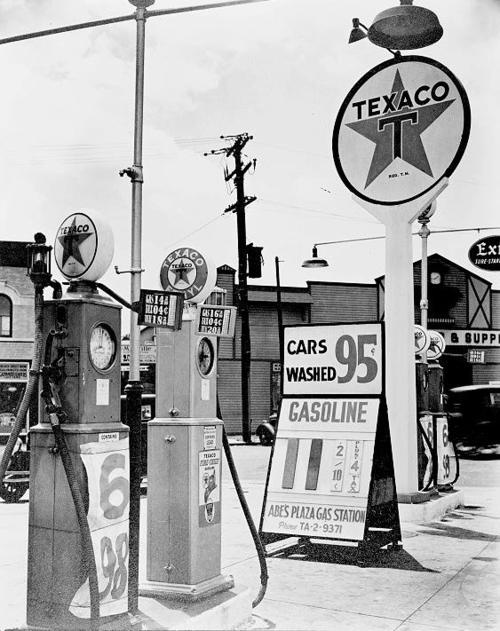 New York gas station, 1936.  11 cents per gallon!