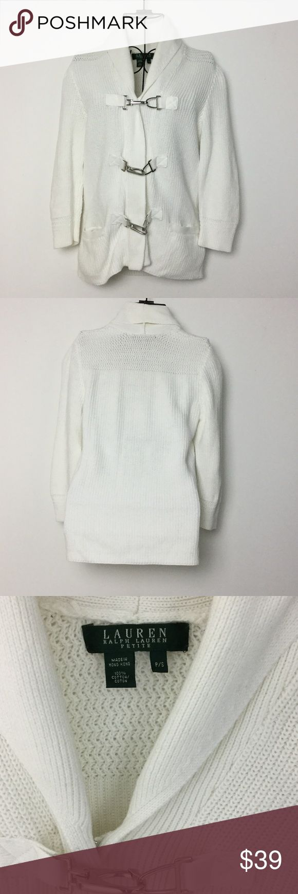 Ralph Lauren Hook Clasp Sweater White sweater.  Three hook clasp with zipper closure in front.  Shaw collar.  3/4 sleeves.  Front pockets.  100% Cotton.  No trades. Lauren Ralph Lauren Sweaters Cardigans