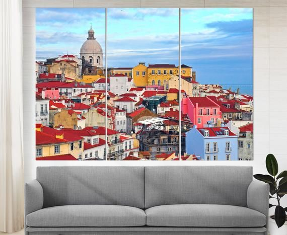 Lisbon Wall Art Lisbon Skyline Lisbon Canvas Print Portugal Etsy Panoramic Canvas Print Canvas Prints Gallery Wrap Canvas