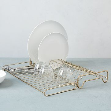 Alas! A pretty AND functional dish rack that I don't feel the need to hide.  Wire Kitchen Collection - Foldable Dish Rack #westelm