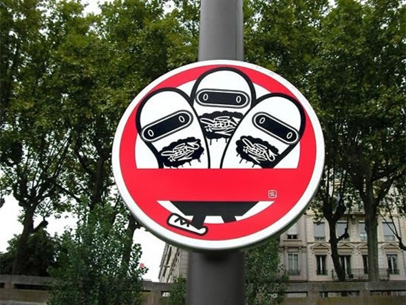 Illusion: Artistic street signs displayed in Lyon, France. I think the illustrations were done by Super Deux. If anyone can confirm the credits for this, it would be much appreciated. Thanks! Thanks to lau for the update. The street sign project was originally created by Karnado. View more here. Link via This Blog Rules. http://illusion.scene360.com/illustration/6016/funky-street-signs/