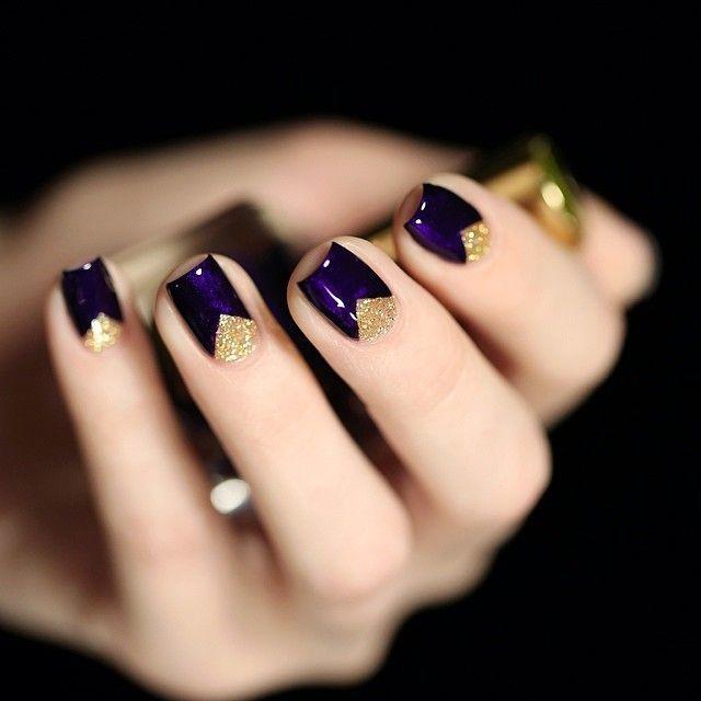Estée Lauder Bête Noire + F.U.N Lacquer Honey Bear / dark purple nails with golden triangles