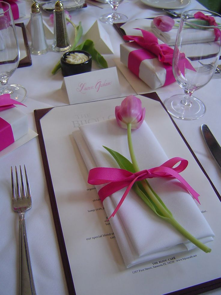 Luncheon... pink tulip wrapped with a pink grosgrain bow. Really simple elegance.