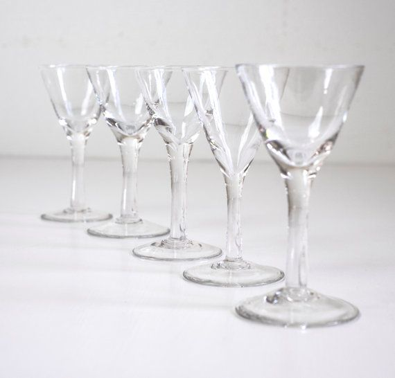 Antique Swedish Hand Blown Shot Glasses Set of 5 pc. by Wohnstadt