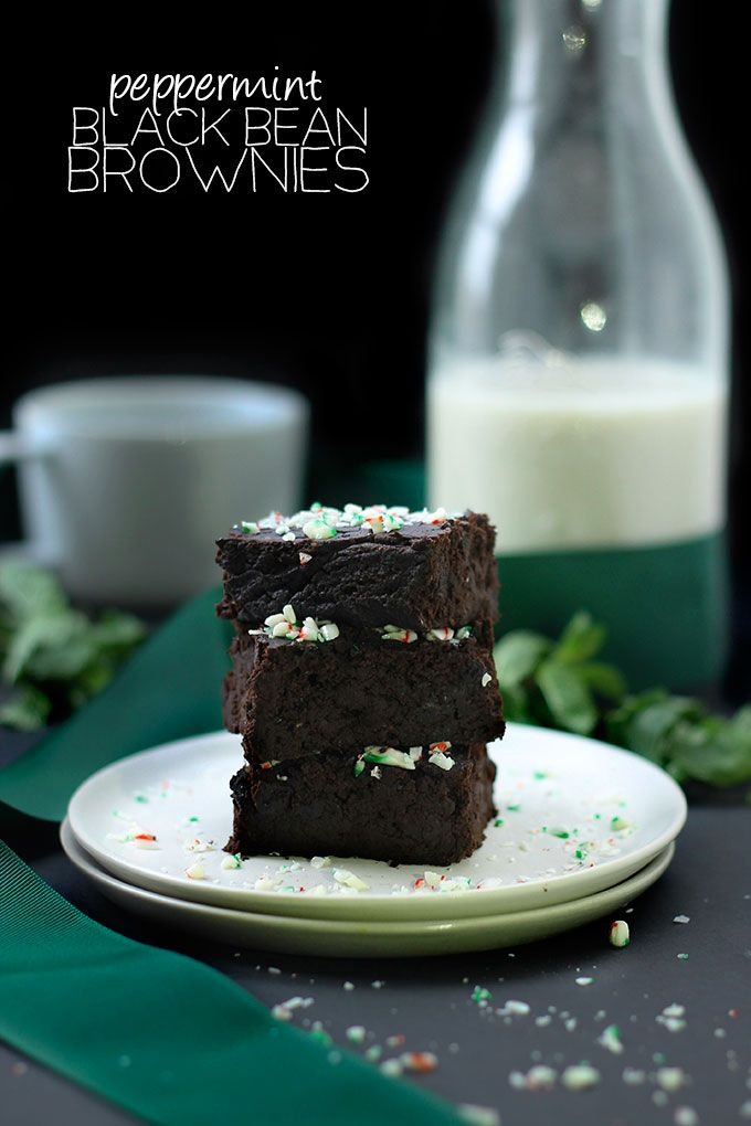 Peppermint Black Bean Brownies - No one needs to know there's black beans hidden in these delicious brownies. They're also grain-free, sweetened with maple syrup and lightened-up with applesauce.