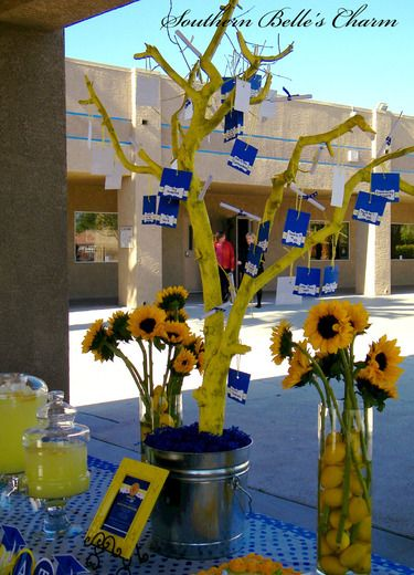Blue yellow graduation end of school party ideas