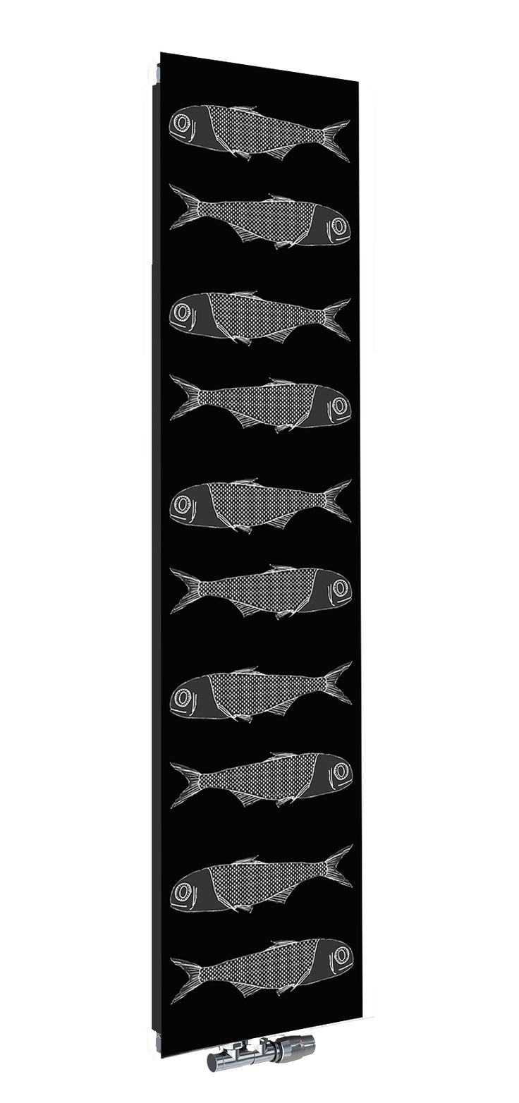Grzejnik dekoracyjny Nova Glass od Radox Radiators. Motyw: Fish