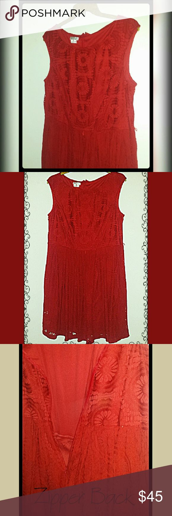 Red Dress Rich Red Dress with lace doily design. 100% Polyester with 100% Polyester Lining. Thick Straps. Sleeveless.  Wear alone or pair with a nice cardigan. Hits right above or at the knee. Small hoops to attach small belt if needed. Excellent condition. Wore 1x. Great for casual, evening, Christmas,  Valentine's Day, weddings, etc Size 18W London Times Dresses Midi