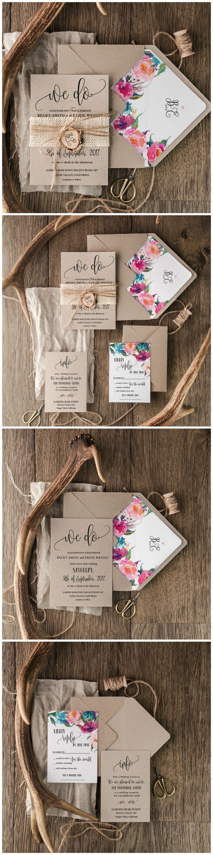 Boho Floral Eco Wedding Invitations - We Do ! Calligraphy printing #dpf #boho #floral #flowers #eco #ecofriendly #weddinginvitations