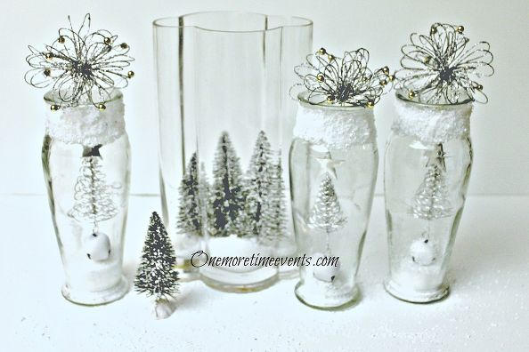 decorating in vases to create a christmas glass vignette and snow, crafts, seasonal holiday d cor, Using Dollar Store Vases and Christmas decorationsto create a Christmas Vignette