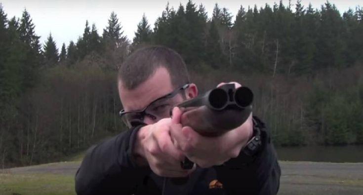 Shooting shotgun slugs from a sawed-off shotgun.