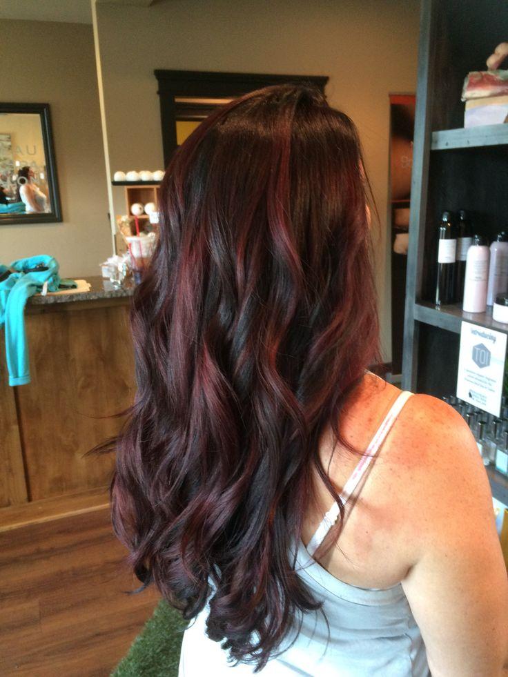 Wine / Merlot / Violet / Mahogany / Long Hair / Balayage / Brunette