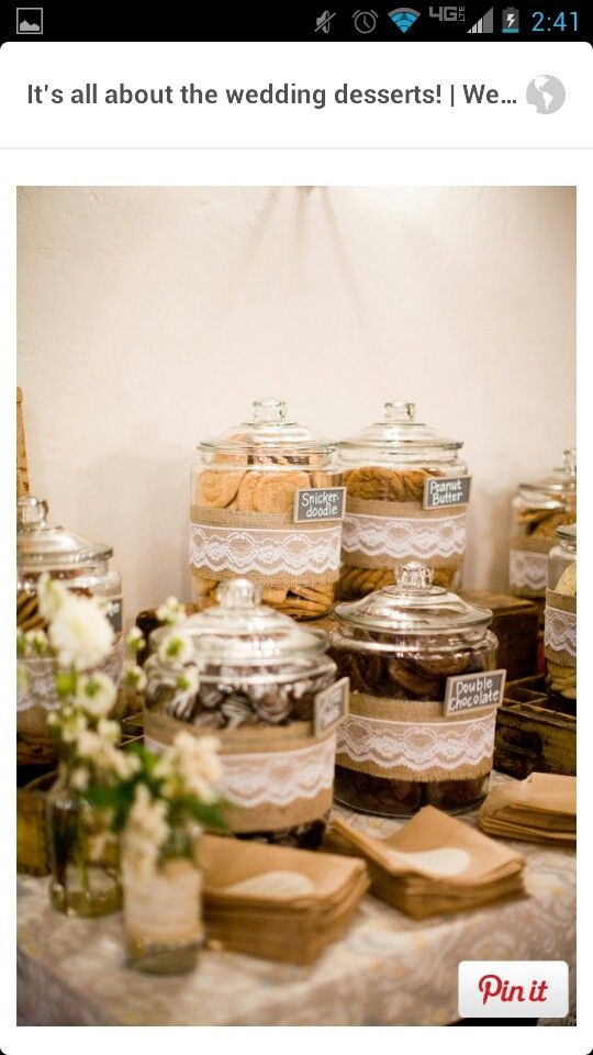 Cool part is u can get those jars w/kids at Walmart and the burlap with the lace attached at Michaels