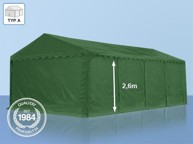 Lagerzelt 5x8 m - 2,6 m Seitenhöhe, PVC dunkelgrün - Profizelt24