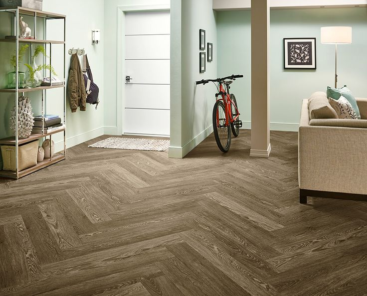 Armstrong Luxury Vinyl Plank Flooring  |  LVP  |  Herringbone Floor Design  |  Light wood look  |  Basement Ideas