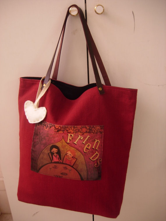 The Coffee Friends dark red big cotton/hemp art bag by eltsamp, $58.00