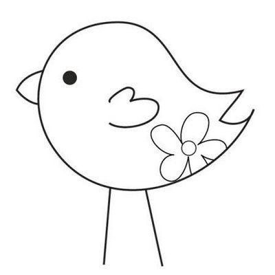 bird w/flower - Feltro no capricho: Moldes