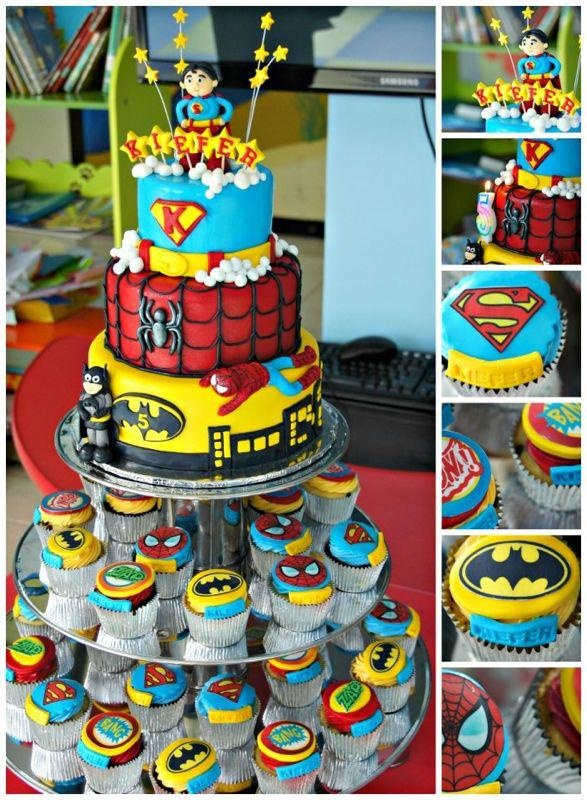 Justice League cake for Kiefer's birthday. Superman, Batman, and Spidey will always be our favorites!