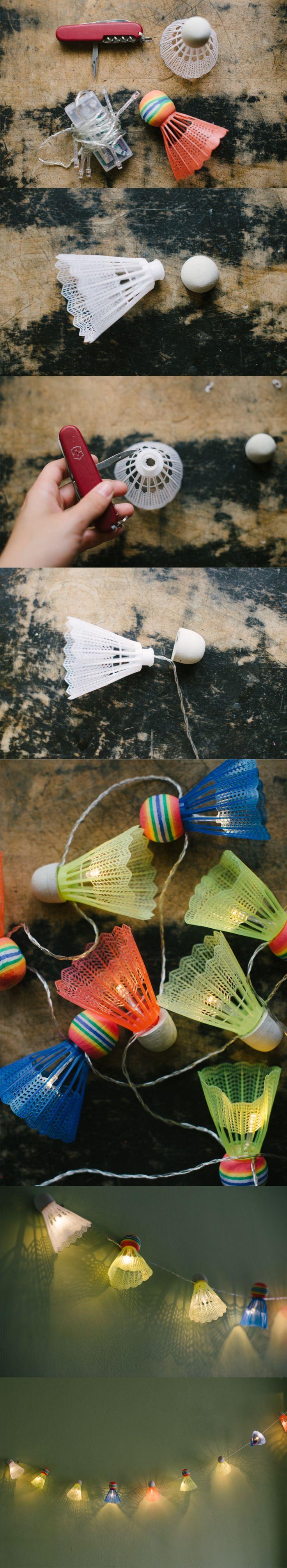 Farolillos reutilizando pelotas de bádminton - Muy Ingenioso