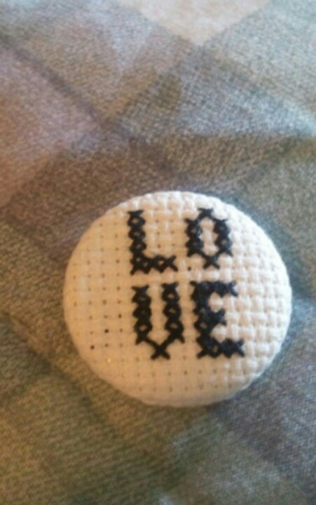 LOVE Cross Stitched Button