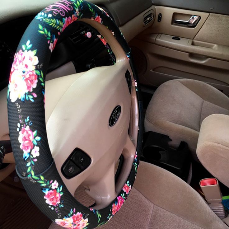 Floral Monogrammed Steering Wheel Cover Classy Black Padded Insulated Custom Steering Wheel Cover Flowers Cute Car Accessories For…