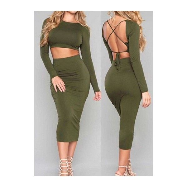 Open Back Army Green Two Piece Dresses ($20) ❤ liked on Polyvore featuring dresses, army green, 2 piece dress, olive green midi dress, print dress, open back midi dress and long-sleeve maxi dress