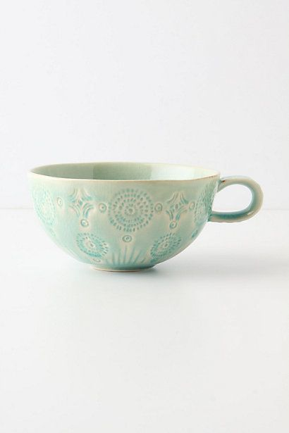 Old Havana Mug #anthropologie - Beautiful subtle greens with the cream showing through. This is a gorgeous, wide, shallow mug. Cute!