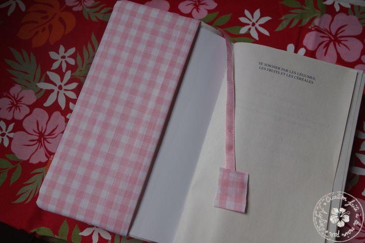 couvre-livre - version carreaux vichy rose/intérieur coton blanc