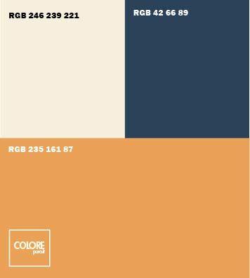 Abbinameto colori arancione bianco caldo blu