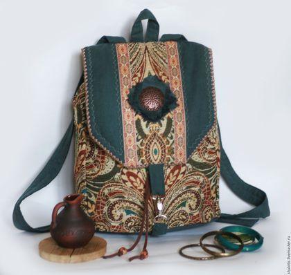 Гобеленовый рюкзак, текстильный рюкзак, льняные сумки и рюкзаки ручной работы, рюкзак в этно стиле, автор Юлия Льняная сказка