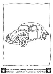 Car Coloring Page VW Beetle Color PAge At Lucy Learns