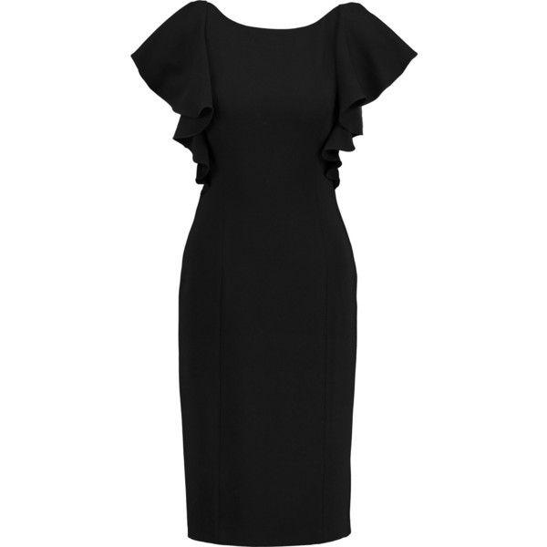 Noir Sachin & Babi Rebecca ruffled crepe dress (320 NZD) ❤ liked on Polyvore featuring dresses, black, crepe fabric dress, ruffle dress, frilly dresses, flutter-sleeve dress and flounce dress