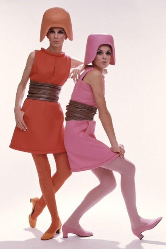 1960s modern space age fashion orange pink structured dress helmet shoes models magazine cardin?