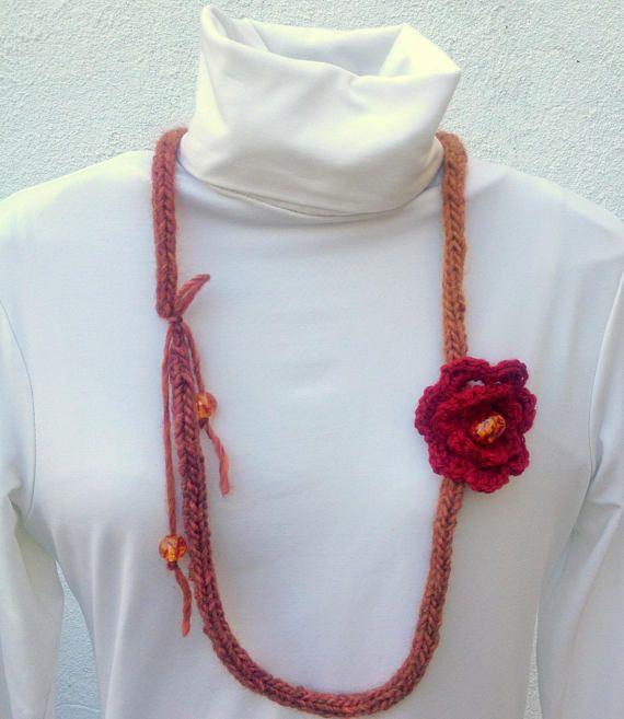 Crochet flower necklace Amber  beads Handmade jewellery
