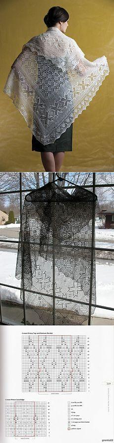 шаль КОРОЛЕВСКАЯ или НАСЛЕДНЫЙ ПРИНЦ / Вязание спицами / Вязание для женщин спицами. Схемы