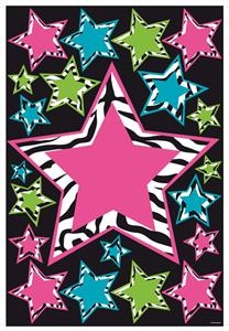 "Zebra Star ""Be a Star"" Motivational Bulletin Board Set, Mardel  Decorate your bulletin board with this set to enhance the GM Week Dream theme in bold colors."