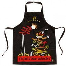 Tablier de cuisine noir Les kiffs Y'a pas d'lave-vaisselle ? - coton enduit
