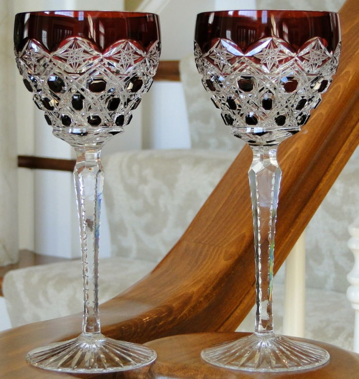 PAIR GORGEOUS RED/GARNET CASED CUT to CLEAR CRYSTAL WINE GOBLETS GLASSES